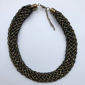 Brass Metal +Black Braided Statement Bib Necklace